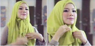 Hanya 1 Menit, Tutorial Hijab Segi Empat Paling Cepat + Video