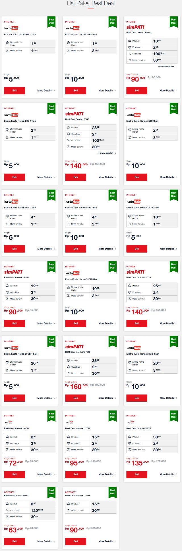 Harga Paket Pasti Best Deal Telkomsel Semua Jaringan