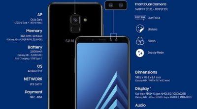 Samsung Galaxy A8 dan A8 Plus, Spesifikasi dan Harga Resmi