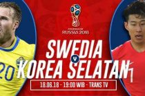 Nonton Swedia vs Korea Selatan, Link Live Streaming Trans TV